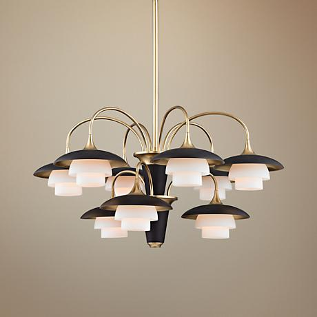 "Barron 30 3/4"" Wide Aged Brass and Black Chandelier"