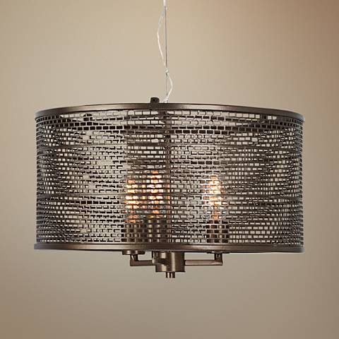 "Varaluz Lit-Mesh Test 18"" Wide New Bronze Pendant Light"