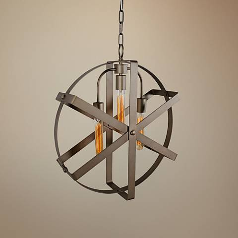 "Varaluz Reel 20"" Wide Rustic Bronze Pendant Light"