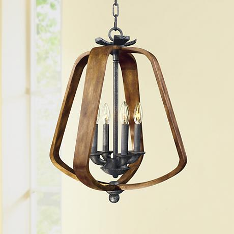 "Maxim Road House 19"" Wide Barn Wood/Iron Ore Pendant Light"