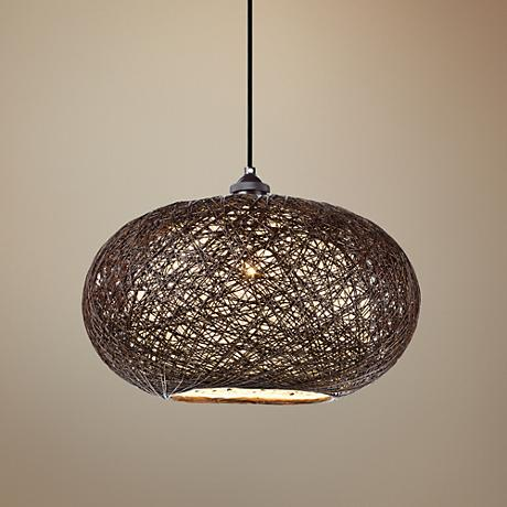 "Maxim Bali 15 3/4"" Wide Chocolate Weave Pendant Light"