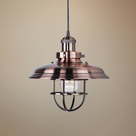 "Maxim Mini Hi-Bay 11"" Wide Antique Copper Mini Pendant"