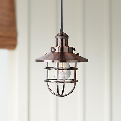 "Maxim Mini Hi-Bay 8"" Wide Antique Copper Mini Pendant"
