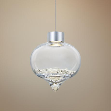 "Besa Terra 8"" Wide Satin Nickel LED Mini Pendant"