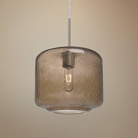 "Besa Niles 9 1/2"" Wide Smoke Glass Mini Pendant"