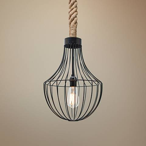 "Besa Sultana 11"" Wide Black Cage Mini Pendant"