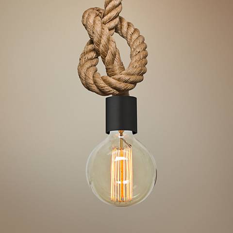 "Besa Solo 2"" Wide Knotted Rope Black Mini Pendant"