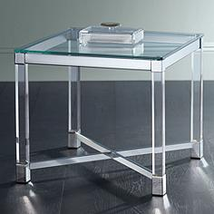Jenna Chrome and Clear Acrylic Square Accent Table