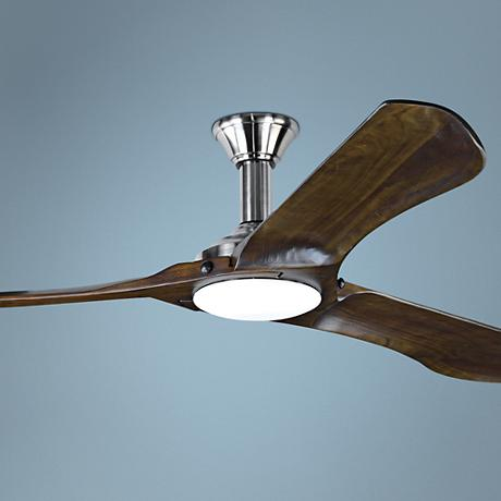 "72"" Minimalist Max Brushed Steel LED Damp DC Ceiling Fan"