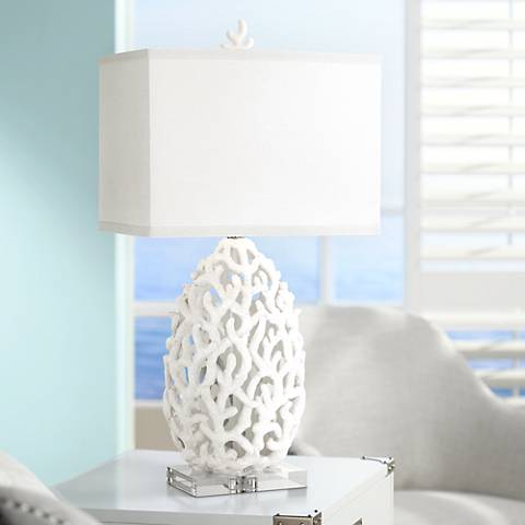 Kathy Ireland Ocean Treasures Coral White Table Lamp