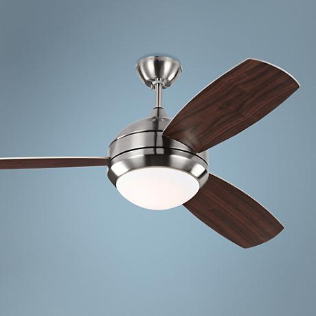 "52"" Discus Trio Brushed Steel Damp LED Ceiling Fan"