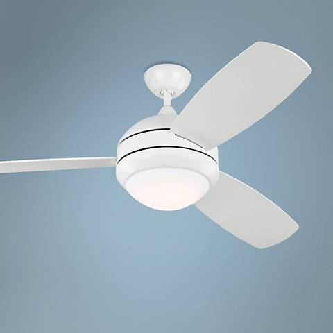 "52"" Discus Trio Rubberized White Damp LED Ceiling Fan"