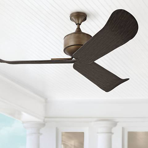 "56"" Monte Carlo Dylan Aged Brass Wet-Rated DC Ceiling Fan"