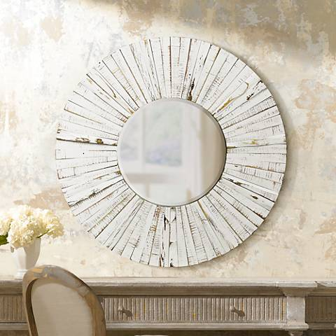 "Sutter Distressed White 36"" Round Sunburst Wall Mirror"