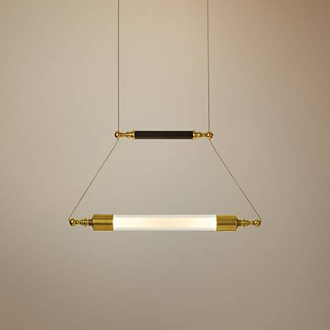 "Otto 19"" Wide Brass with Black Horizontal Pendant Light"
