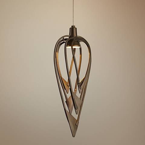 "Hubbardton Forge Amulet 7 1/2"" Wide Dark Smoke Mini Pendant"