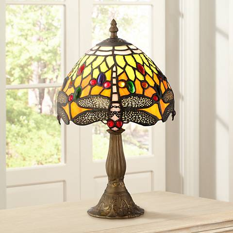"Robert Louis Tiffany 13 3/4""H Dragonfly Art Glass Table Lamp"