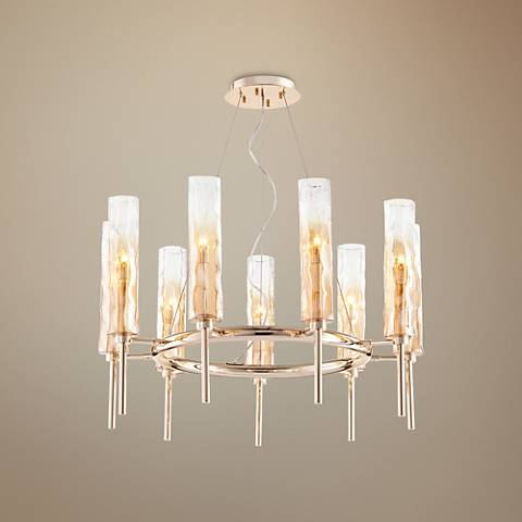 "Balanchine 29"" Wide Amber Glass 9-Light Chandelier"