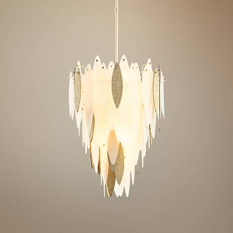 "Vega 21 3/4"" Wide Gold and White Glass 7-Light Pendant"