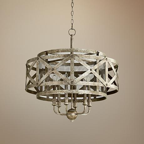 "Byzantine 26 1/2""W Graphite 6-Light Double Drum Pendant"
