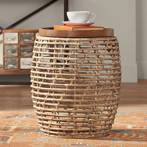 Kai Water Hyacinth Indoor-Outdoor Accent Table