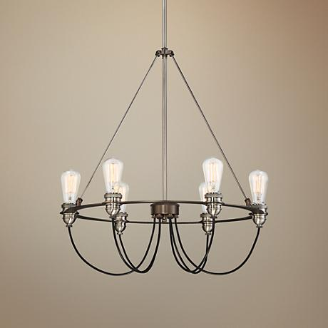 "Uptown Edison 25""W Harvard Court Bronze 6-Light Pendant"