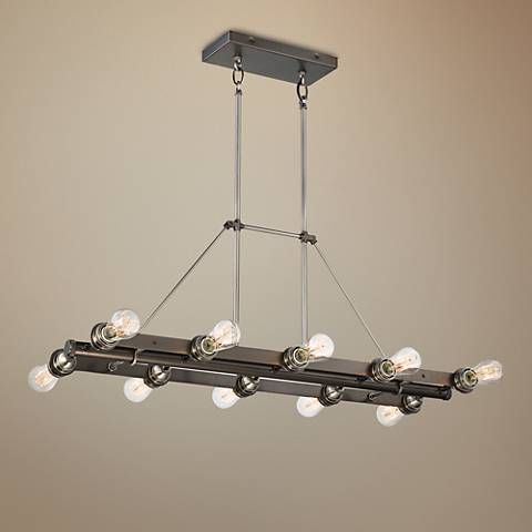"Uptown Edison 37""W Bronze 10-Light Island Chandelier"