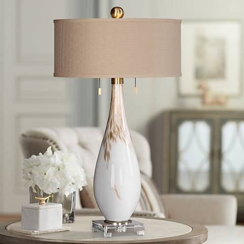 Uttermost Cardoni Gloss White Hand-Blown Glass Table Lamp