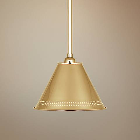 "Jonathan Adler St. Germain 10""W Polished Brass Mini Pendant"