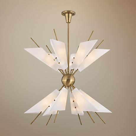 "Cooper 32 1/4"" Wide Aged Brass 24-Light LED Chandelier"