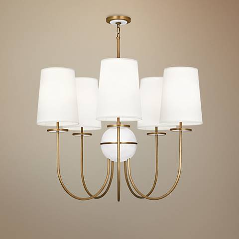 "Fineas 35 1/4"" Wide Off-White Shade Aged Brass Chandelier"