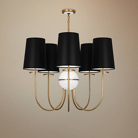 "Fineas 35 1/4"" Wide Black Shade Aged Brass Chandelier"