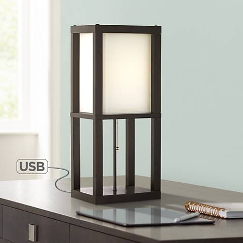 "Carlie 22"" High Wood Table Lamp with USB Port"