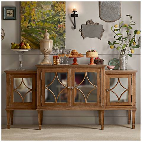 Marie Reclaimed Natural Wood and Mirrored 4-Door Buffet