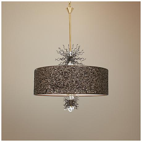 "Van Teal Burst 24""W Gold Leaf and Artisteel Pendant Light"