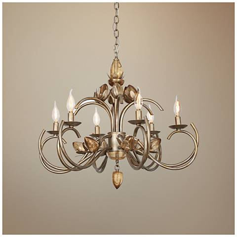 "Van Teal You Will Remember 28""W Tiffany Gold Chandelier"