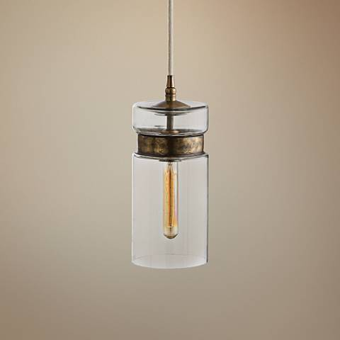 "Arteriors Home Garrison 6""W Brass and Glass Mini Pendant"