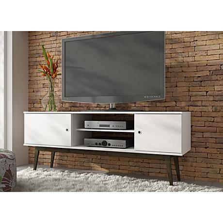Salem White Wood 2-Door TV Stand