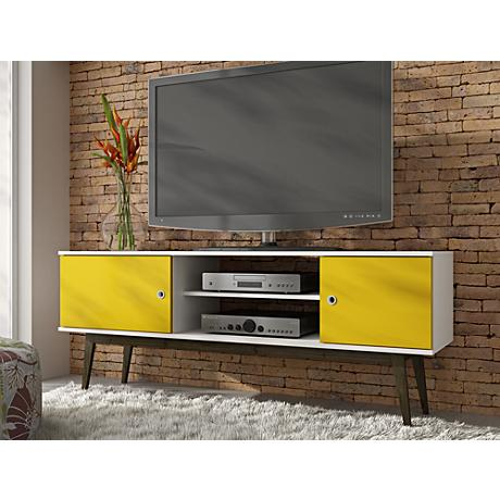 Salem White and Yellow Wood 2-Door TV Stand