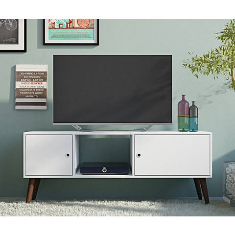 Varberg White Wood 2-Door TV Stand