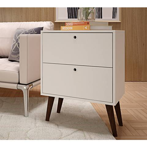 Taby White Wood 2-Drawer Nightstand