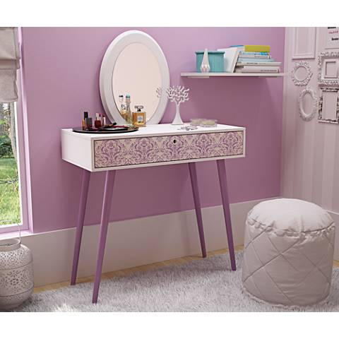 Mora White and Lavender Wood 1-Drawer Vanity with Mirror