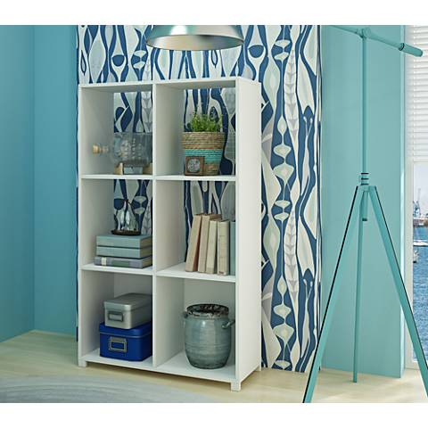 Natal 2.0 White Wood 6- Shelf Bookcase
