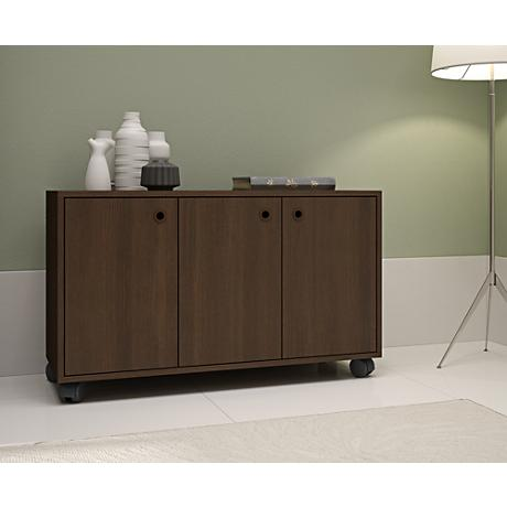 Dali Tobacco Wood 3-Door Cabinet with Casters