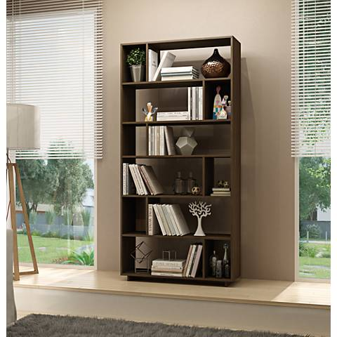 Maringa Tobacco Wood 12-Shelf Bookcase