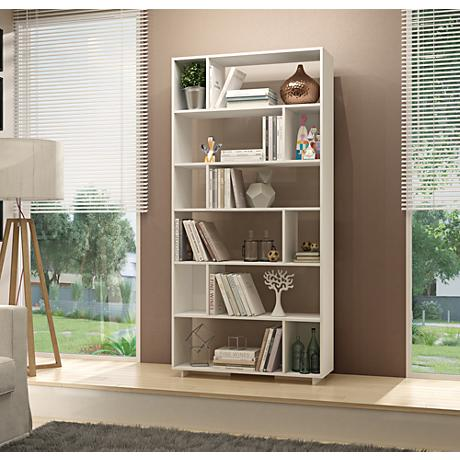 Maringa White Wood 12-Shelf Bookcase