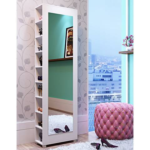 Valencia 2.0 White Wood Shoe Closet with Mirror