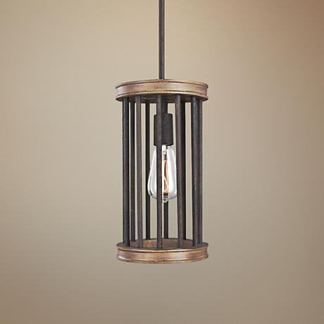 "Feiss Locke 7""W Weathered Rusted Iron and Oak Mini Pendant"