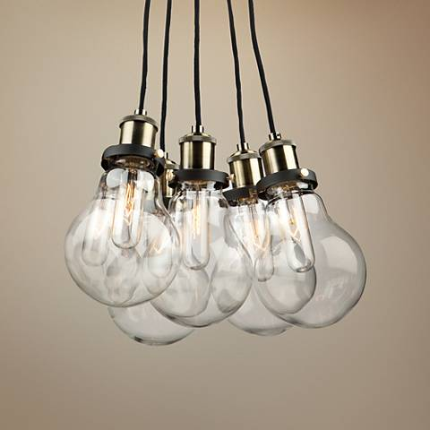 "Edison 15 3/4""W Matte Black Retro Multi Light Pendant"