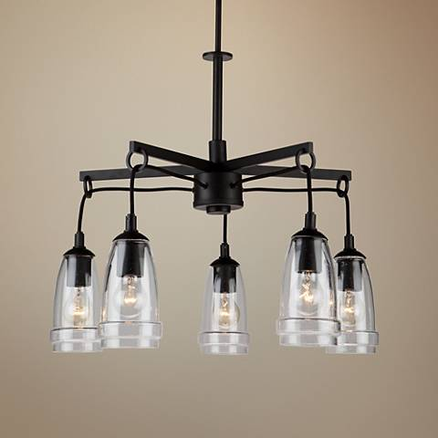"Artcraft Nottingham 26"" Wide Java Brown 5-Light Chandelier"